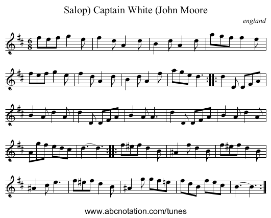 Captain White (John Moore, Salop) - staff notation