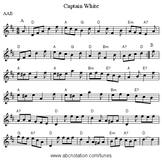Captain White - staff notation