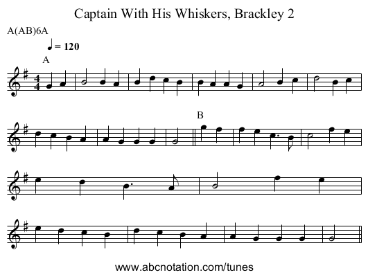 Captain With His Whiskers, Brackley 2 - staff notation
