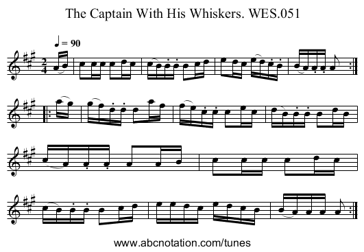 Captain With His Whiskers,The WES.051 - staff notation