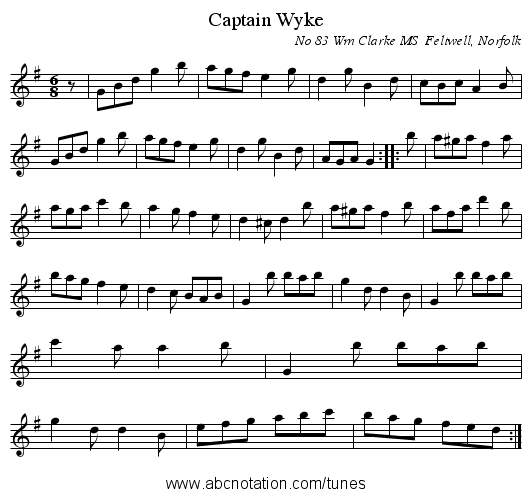 Captain Wyke - staff notation