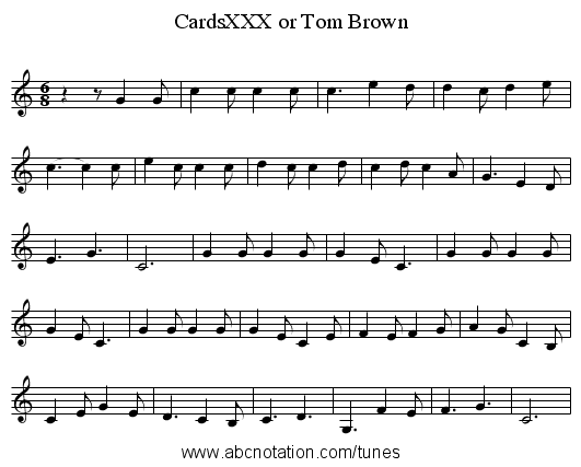 CardsXXX or Tom Brown - staff notation