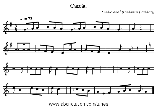 Careáu - staff notation