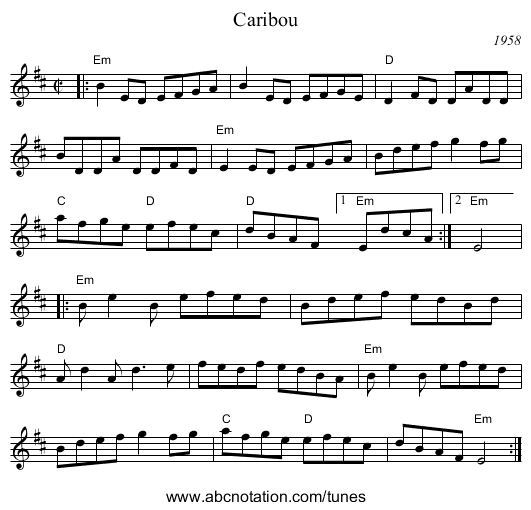Caribou - staff notation