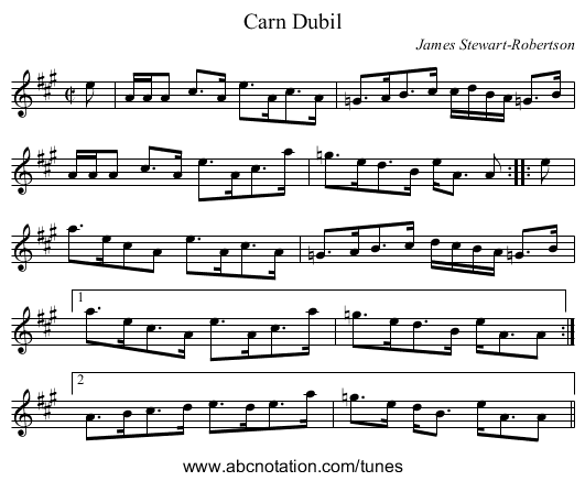 Carn Dubil - staff notation