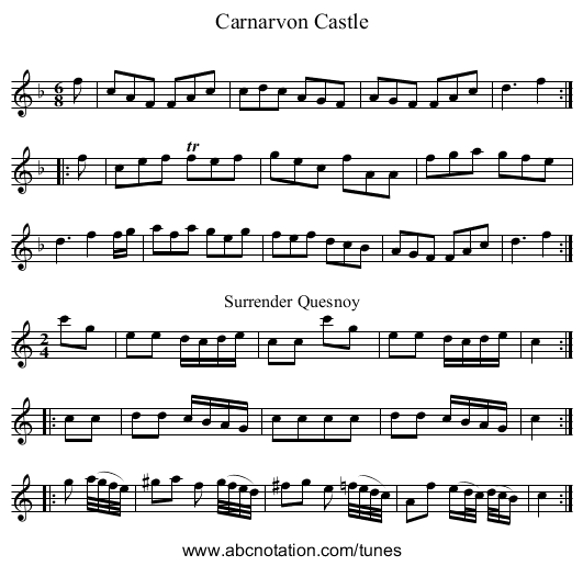 Carnarvon Castle - staff notation