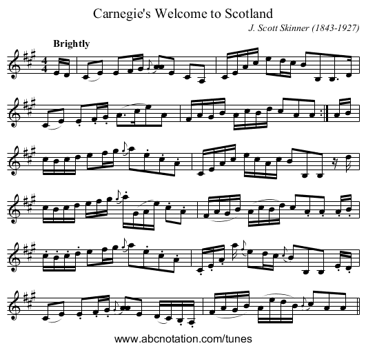 Carnegie's Welcome to Scotland - staff notation