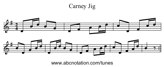 Carney Jig - staff notation