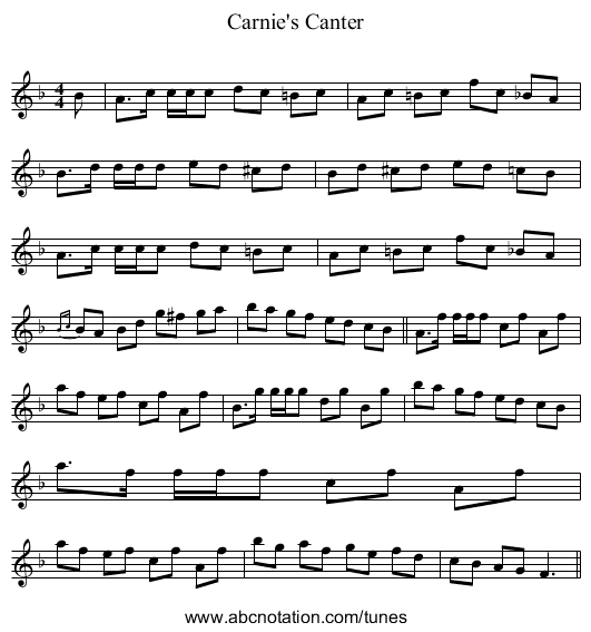 Carnie's Canter - staff notation