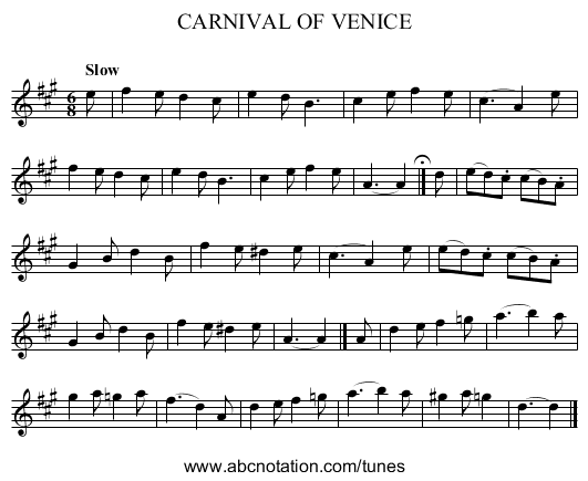 CARNIVAL OF VENICE - staff notation