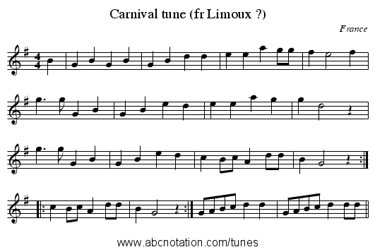 Carnival tune (fr Limoux ?) - staff notation