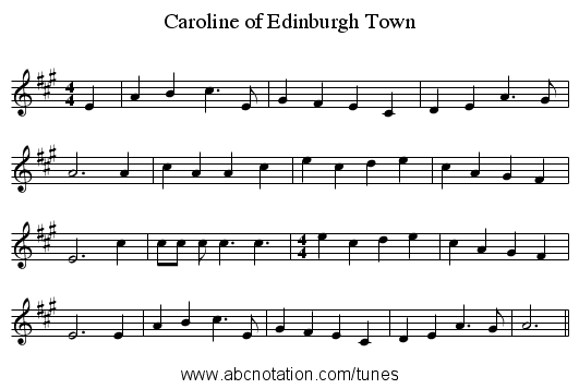 Caroline of Edinburgh Town - staff notation