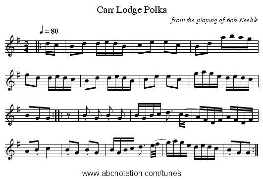 Carr Lodge Polka - staff notation