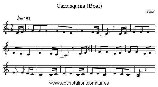 Carrasquina (Boal) - staff notation