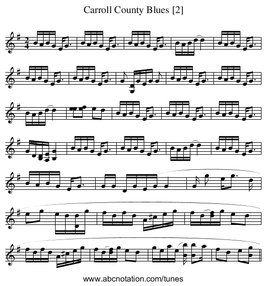 Carroll County Blues [2] - staff notation