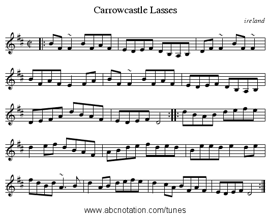 Carrowcastle Lasses - staff notation