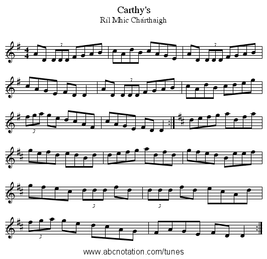 Carthy's - staff notation