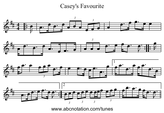 Casey's Favourite - staff notation