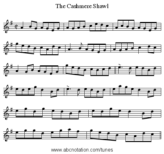 Cashmere Shawl, The - staff notation