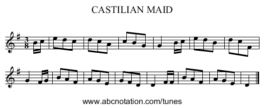 CASTILIAN MAID - staff notation