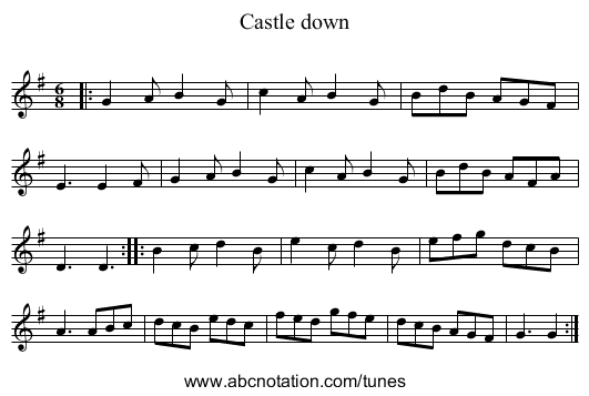 Castle down - staff notation