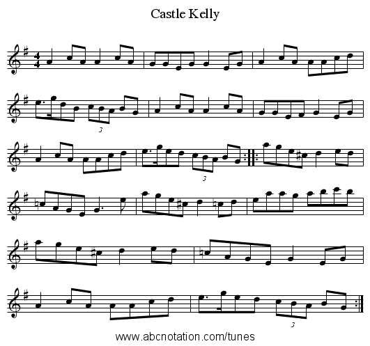 Castle Kelly - staff notation