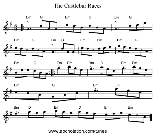 Castlebar Races, The - staff notation