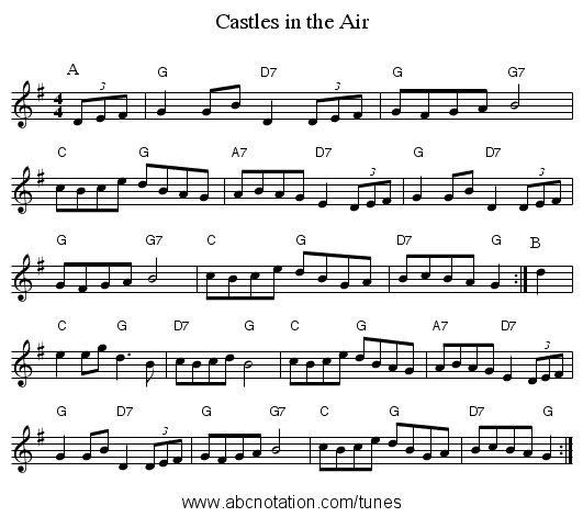 Castles in the Air - staff notation
