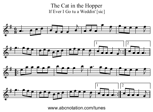 Cat in the Hopper, The - staff notation