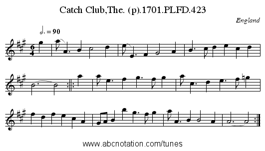 Catch Club,The. (p).1701.PLFD.423 - staff notation