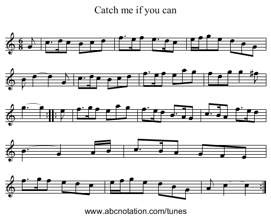 Catch me if you can - staff notation