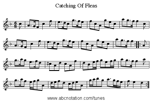Catching Of Fleas - staff notation