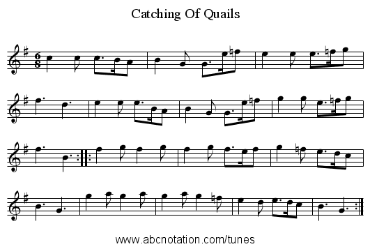 Catching Of Quails - staff notation