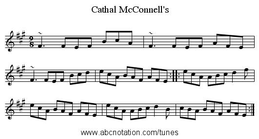 Cathal McConnell's - staff notation