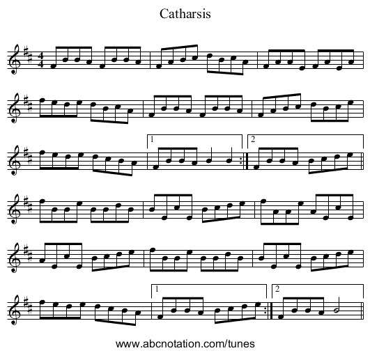 Catharsis - staff notation