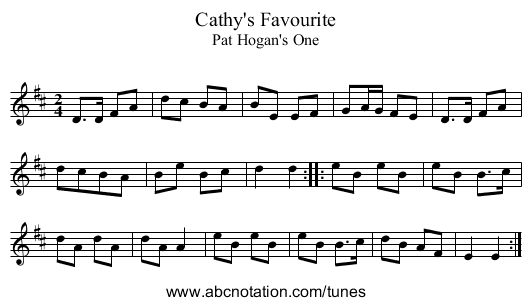 Cathy's Favourite - staff notation