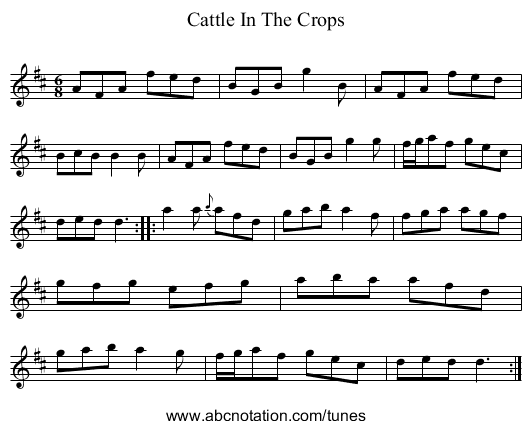 Cattle In The Crops - staff notation