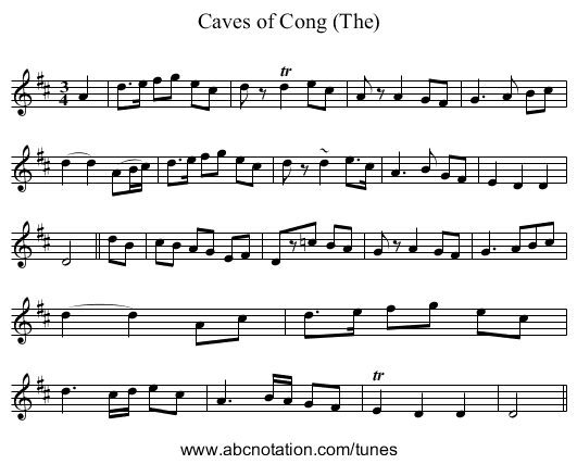 Caves of Cong (The) - staff notation