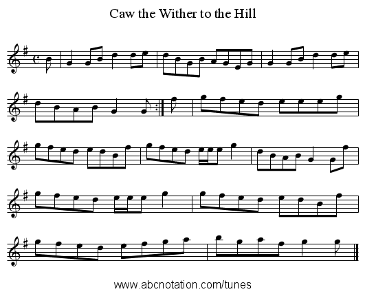 Caw the Wither to the Hill - staff notation