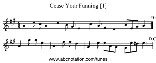 Cease Your Funning [1] - staff notation