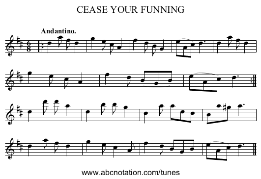 CEASE YOUR FUNNING - staff notation
