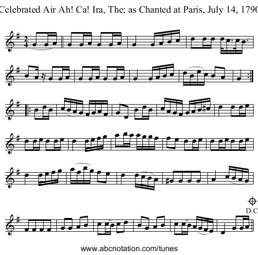 Celebrated Air Ah! Ca! Ira, The; as Chanted at Paris, July 14, 1790 - staff notation
