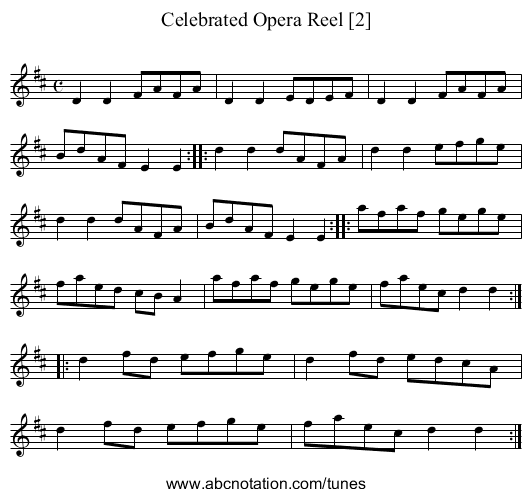 Celebrated Opera Reel [2] - staff notation