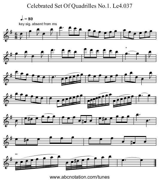 Celebrated Set Of Quadrilles No.1. Le4.037 - staff notation