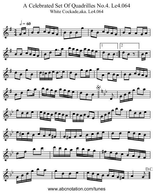 Celebrated Set Of Quadrilles No.4. Le4.064, A - staff notation
