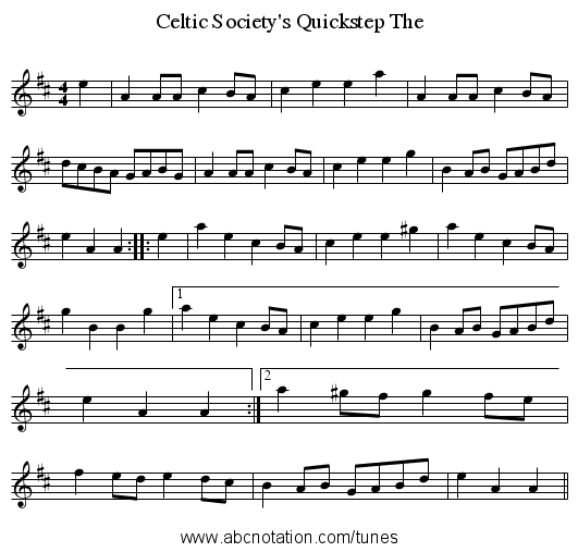 Celtic Society's Quickstep The - staff notation