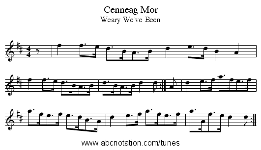 Cenneag Mor - staff notation