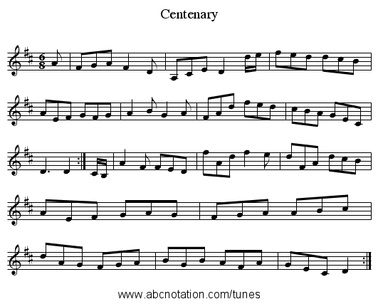Centenary - staff notation
