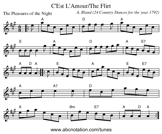 C'Est L'Amour/The Flirt - staff notation