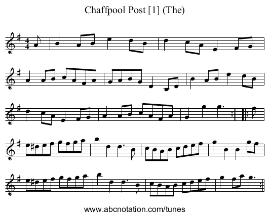 Chaffpool Post (The) - staff notation